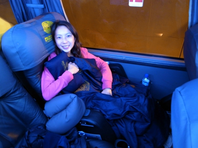舒適又可以40度平放的皮椅,還有小枕頭和棉被,真舒服