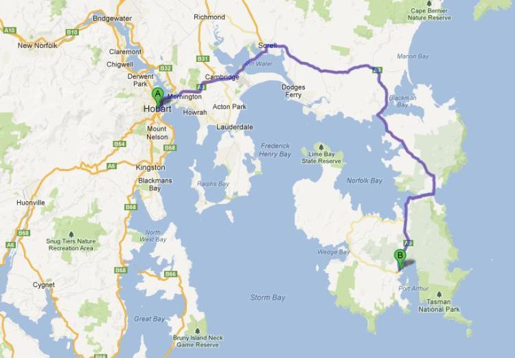 Port Authur可算是Hobart週邊最遠的景點,要一個半小時的車程才能到。去Bruny Island也不過是一個小時左右