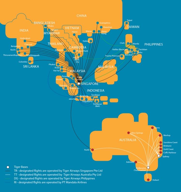 虎航最新的路線圖